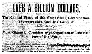 Newspaper Article From February 27 1901 Announcing The Incorporation Of Us Steel Elyria Reporter