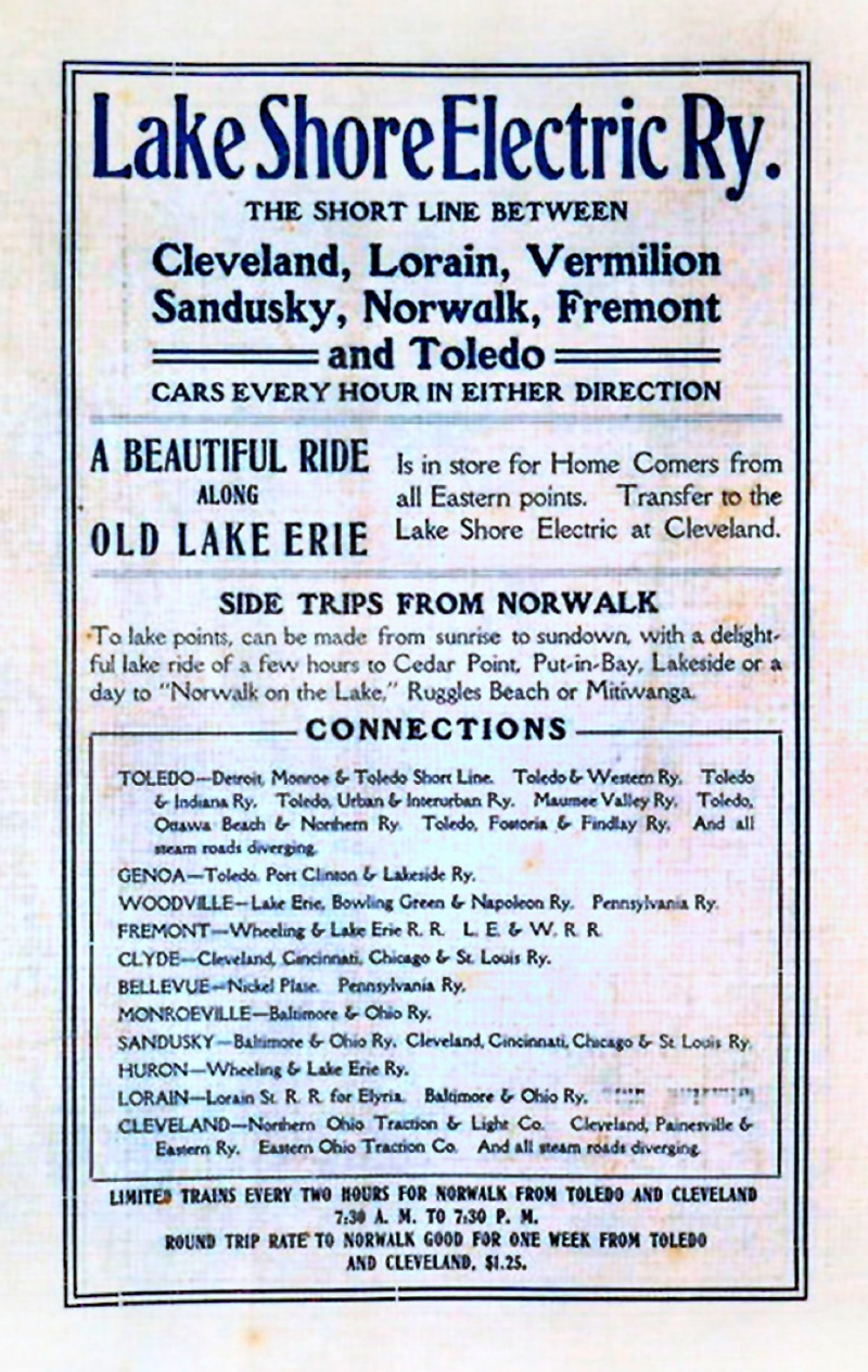 Norwalk lake shore rail maps lse ad from the firelands centennial commemorative book dennis lamont aiddatafo Image collections