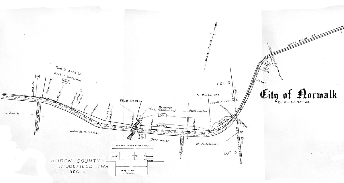 Norwalk lake shore rail maps map of the tfns west entrance to norwalk along the old bellevue norwalk road across the huron river and up to the smn on west main street sciox Choice Image