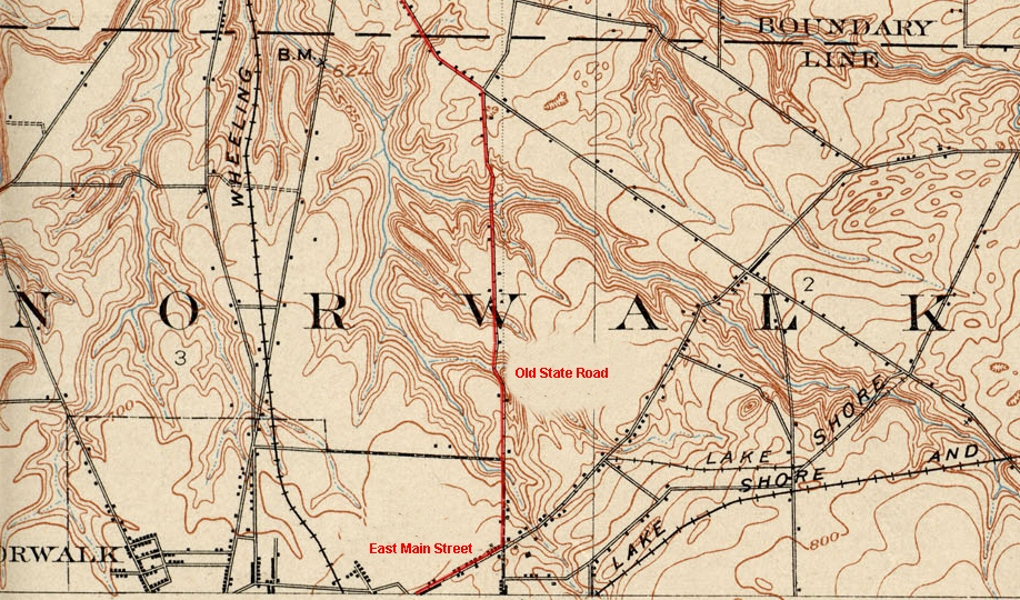 topo map highlighted with the railway route along old state road and east main street between milan and norwalk drew penfield